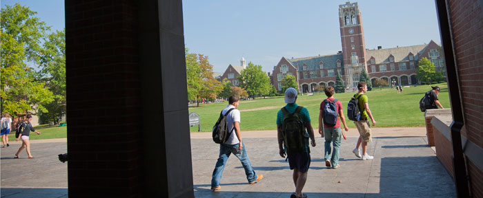 Students in front of the clock tower