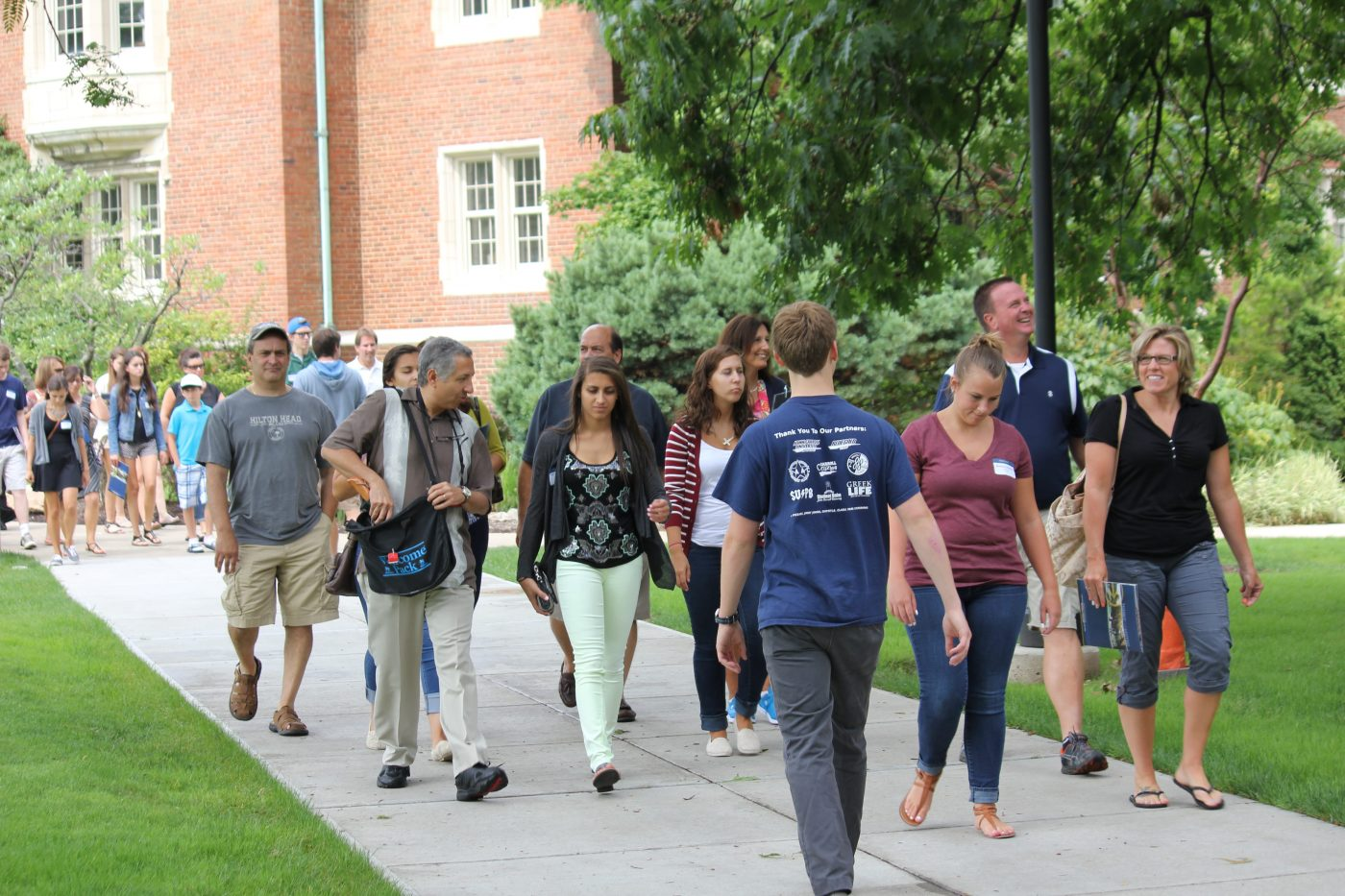 students and parents on campus tour