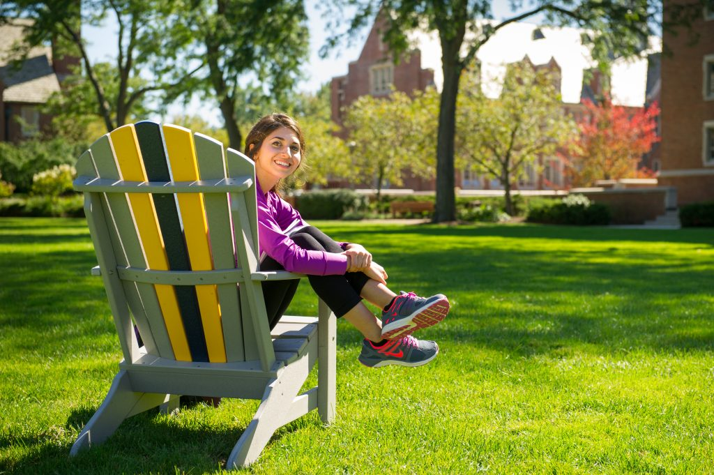 girl on campus quad