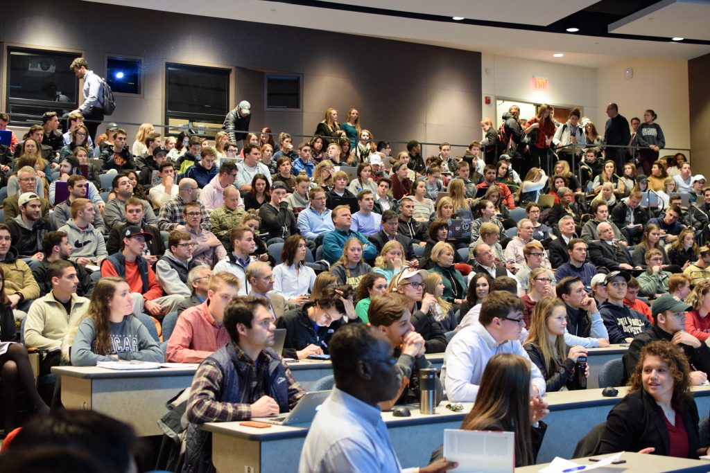 More than 200 faculty, staff and students attended the lecture by Andrew Savitz.