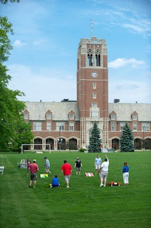 Students in quad in front of clock tower