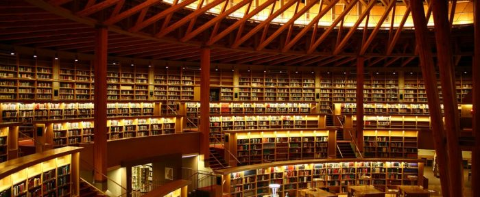Photograph of the interior of a large modern library.