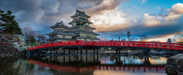 Photograph of a Japanese temple with a red bridge.