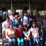 Posing by the antique merry-go-round at Cedar Point