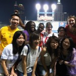 Students and peer mentors at a Cleveland Indian's baseball game