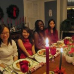 Students having dinner at a trustee's house before the ballet