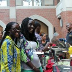 Students enjoying the food at the Welcome Dinner during orientation