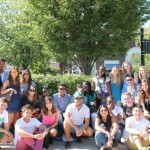 Students posing at Shaker Square during our tour of Cleveland.