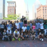 Posing in Public Square, the heart of downtown Cleveland.