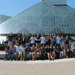 In front of the Rock and Roll Hall of Fame.