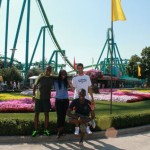 Posing in front of one of 70 rides at Cedar Point.