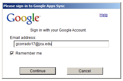 Apps Sync Signin Window
