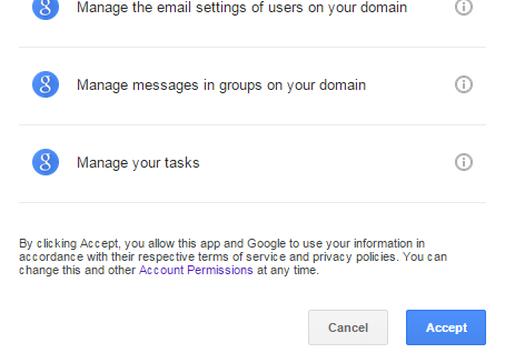 Google Permissions Window