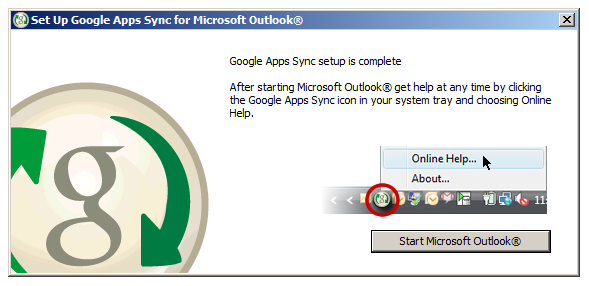 Outlook Syncing Window