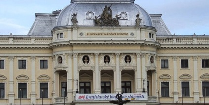 Exterior photo of Slovak National Theatre building, Bratislava.