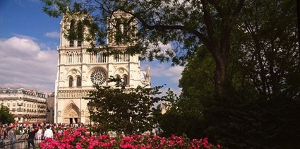 Photo of the Notre Dame Cathedral in Paris, France.
