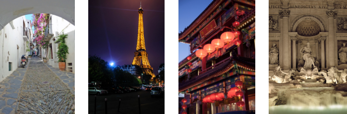 Photo collage of European architecture including the Eiffel Tower