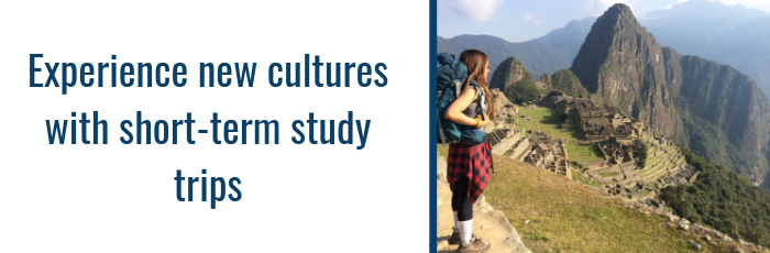 Photo of woman standing on cliff with text: Experience new cultures with short-term study trips.
