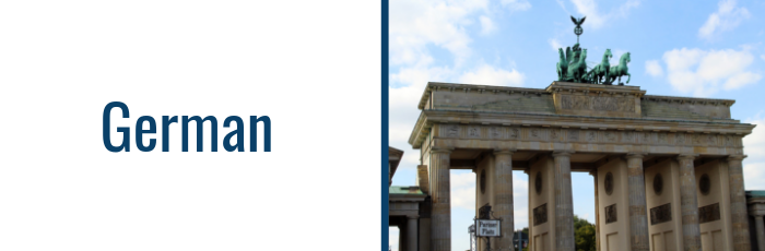 Photo of the Brandenburg Gate with text: German
