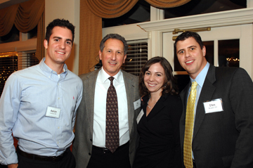 Aaron Carino '03, Joe Tarasco '76, Kristen (Cipriani) Bender '03, and Dan Bender '03