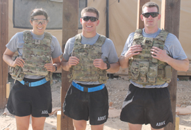 Sgt. Sarah Bailey, 703rd Brigade Support Battalion public affairs officer; First Lt. Barrett Baker, 703rd BSB supply and services officer in charge; and Cpt. Andrew Reeves '08, support operations deputy