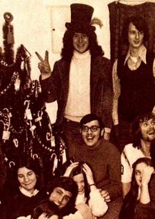 Dennis Lane in the top hat at the WUJC staff Christmas party in 1973.