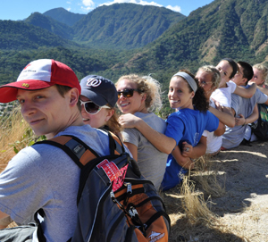 Carroll students at the foot of a cross in the hills of Guatemala