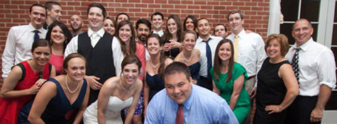 Alumni enjoying the wedding of Ryan and Emily (Jackson) Feaver.