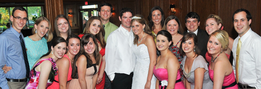 Friends gather with Katie (Stinson) Shively on her wedding day.