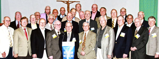Front row, from left: Tom Krukemeyer, Hank Gioia, Dick Christie, John Robertson, Gary Wechter, John Kandzer, Don Santos, Jack Cingel, Jack McNicholas, and Steve Halas. Everyone else (from left): Harold Murphy, Bill Geary, Tim Abraham, Pat Malloy, Chuck St. John, Larry Dietz, Pat Mingarelle, John Young, Gerry Porter, Chuck Jacobsen, Paul Mong, Bill Weaver, Bob Nix, Phil Grushetsky, John Reali, Jim O'Meara, Jim Oakar, and Bob Maynard.