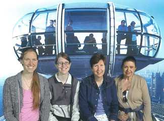 Rosemary Amato (far right) traveled to London this summer with her family (from left): Beth Kreienkamp, Kate Krienkamp, and Patricia Amato Kreienkamp.