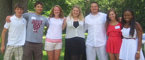 On July 20, Molly '75 and Dave Robinson hosted their annual incoming freshman picnic at their home in Bloomfield Hills, Mich., which included (from left): Nick Stoneback, Max Wolfe, Sarah Poronto, Bailey Baringer, Matt Cramer, Maria Pangori, and Abriel Neely.