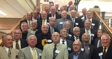 Members of the 1962 and 1963 football teams who were inducted into the JCU Athletic Hall of Fame