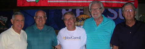 Several classmates met for lunch in Fort Myers, Fla., in February (from left): Paul Napoli, John Fagan, Don Zawistowski, Paul Stetz, and Denny Yavorsky.