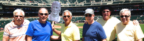 A few classmates and Bishop John Carroll attended a baseball game. Those in the photo are purposefully not mentioned so the picture can be used as a warm-up for reunion when classmates try to remember each other's names after 45 years.