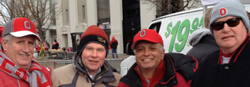 Mike Downing, Dave Cullen, Bill Gagliano, and Urban Picard tailgate before the Ohio State Buckeyes game on Nov. 23, 2013.