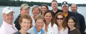 A fondly remembered vacation in Hilton Head with friends: (back row) Billy Donnelly, Tom Burke, Jane (Broeren) Lambesis, Sandra Ryan, Danny Reynolds, Jim Brown, Mark Biche, (front row) Sue (Divane) Donnelly '84, Deb Solyan, Marie (Lynch) Julius, Sheila Nelson, and Kristine Reynolds