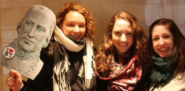 Elizabeth Castellano '11, Sarah Castellano '13, and Janet Vlosky '10 at a recent NYC Alumni Chapter event