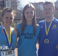 Melissa Vinci and her siblings after finishing the Boston Marathon