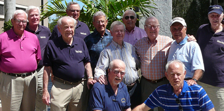 Back row: Phil Schaefer, Paul Schlimm, Ben Miralia, and Larry Selhorst. Center row: Bill Ryan, Mike Conti, John Boler, Jack Breen, and Bob Pascente. Front row: Leo Duffy and Jim Knechtges