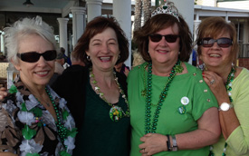 Colette Gibbons, Lisa Druessi O'Brien, Liz Gesenhues, and Chris Lamiell Reinhard celebrate St. Patrick's Day.