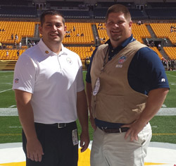 Joe Micca '10 and Paul Clapp '09 met before the Browns - Steelers game in Pittsburgh.