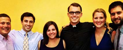 Matt Harmon, Sam Brenner, Katie (Reece) Pittman, Katy Kleinhenz, and Patrick McDermott '09 celebrated Matt Wooters' First Vows as a Jesuit Brother.