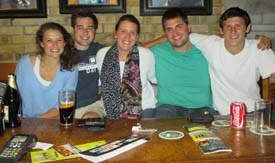 Kelly Lackey, John Brady, Chelsea Gerken, Ty McTigue, and Mitch Lackey enjoy a night in Dublin, Ireland.