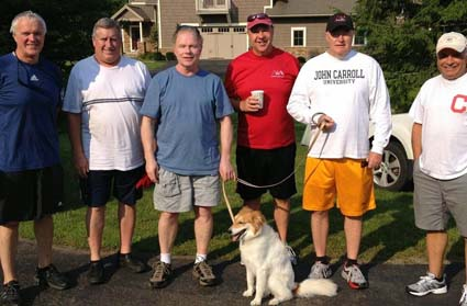 Stan Mambort, Mike Downing, Dave Cullen, Brian Henke, Urban Picard, and Bill Gagliano at their annual get-together at Peak n' Peak in August