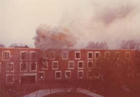Ken Keeler was getting up early to do his radio show at WUJC when he looked out his Dolan dorm window and saw this. It was 6:15 a.m. on a Friday morning in April of 1981, he thinks. He snapped the scene with his Kodak Instamatic.