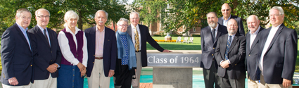 Members of the class of '64 dedicate the St. Ignatius Plaza fountain. From left: Tom Leahy, Bill Kerner, Kathryn Carol Clearage, Jerry Grdina, Susan Adams (widow of Allyn Adams), Bill Gibbons, Jim Williams, Jack Froehlich, Pat Holland, Frank Kelley, and Tom Dickerson.