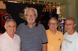Classmates (from left) Paul Napoli, Paul Stetz, Paul Dwyer, and Don Zawistowski enjoyed lunch  in Florida on Feb. 10.