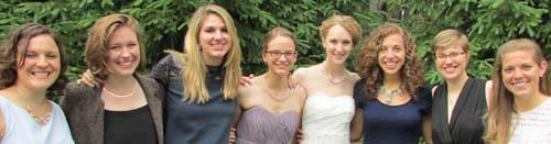 From left: Madeline Presper, Lydia Munnell, Elizabeth Natonski, Ellen Holodnak, Abby Curtin, Emily Herfel, Alyse Viggiano '13, Allison Gase