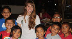 Carrie Vollentine with the children she served while in Florida
